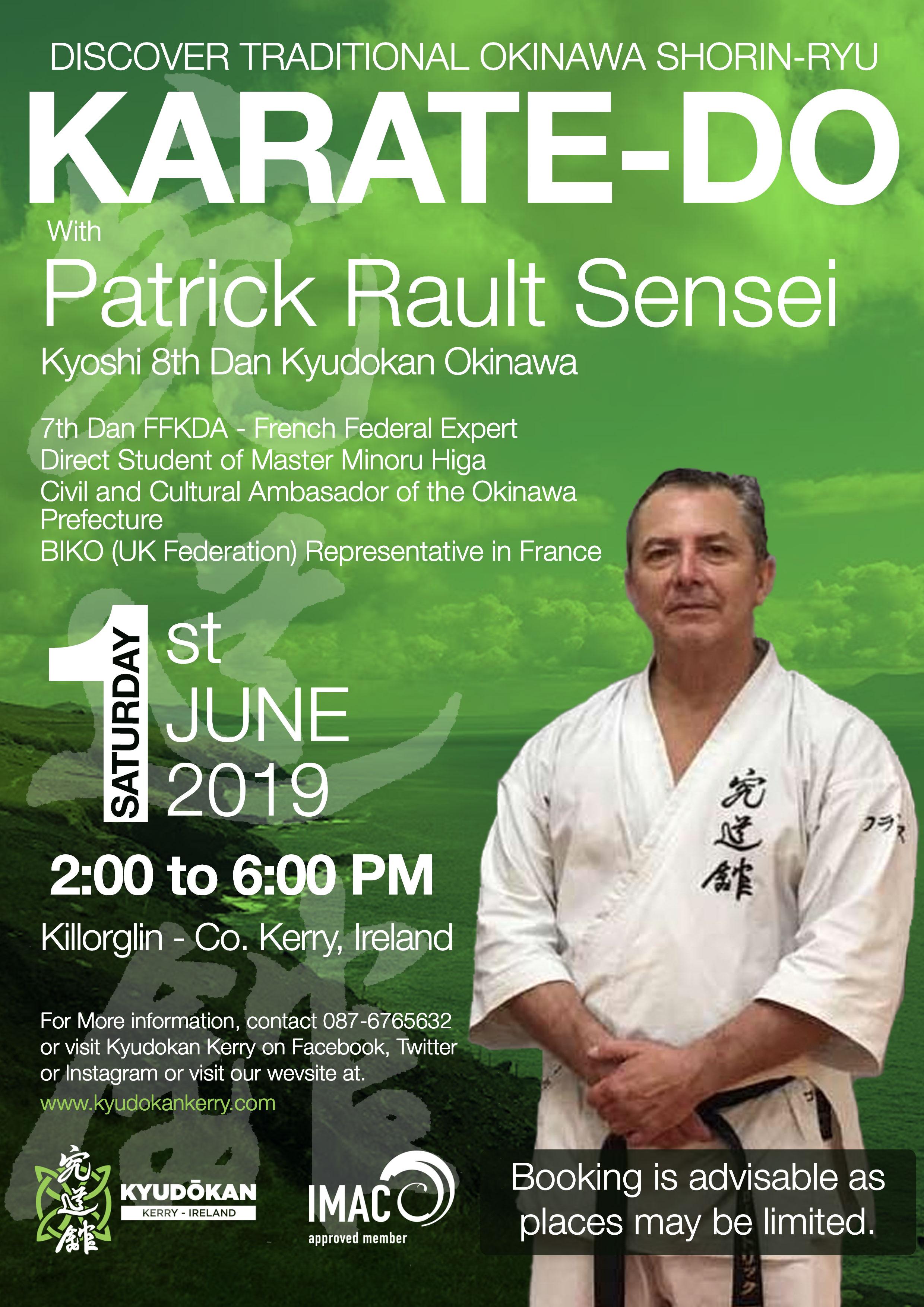 Karate Seminar with Sensei Rault, 8th Dan, 1st June 2019